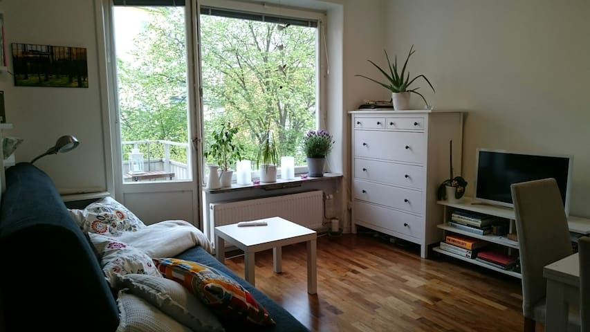 Living room with balcony, TV, drawers
