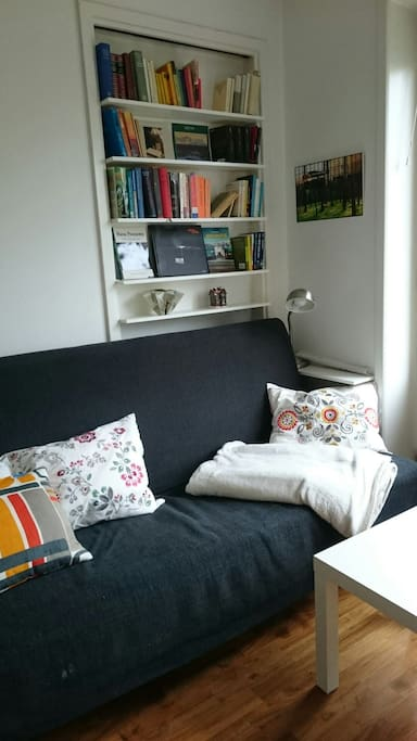 Comfortable sofa with reading corner
