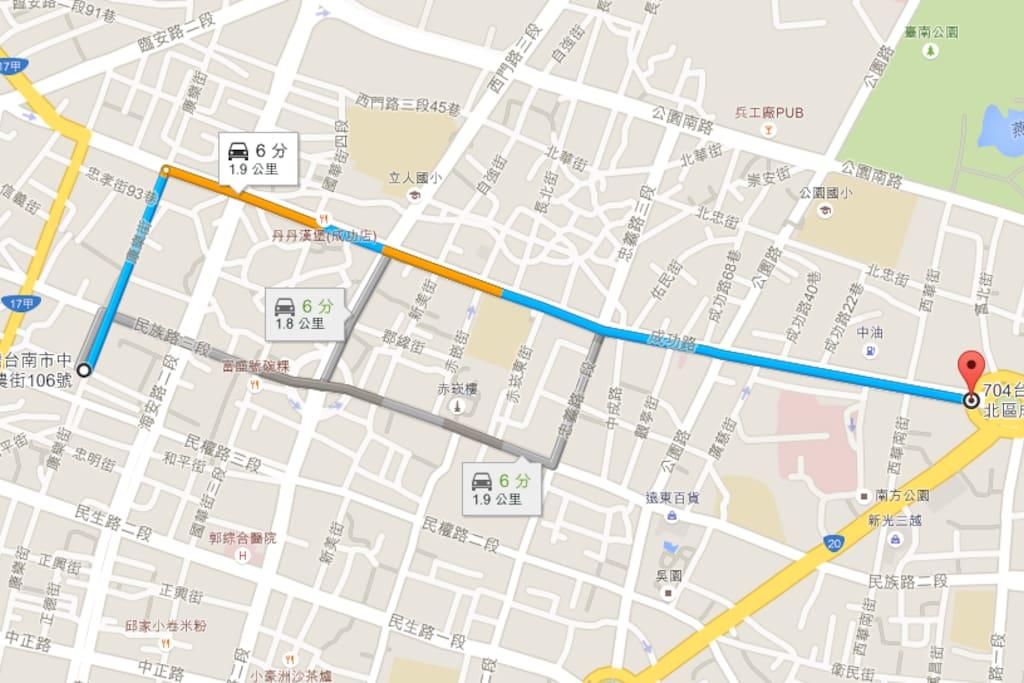 火車站路徑圖  車程6分鐘