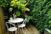 We've finished your small private courtyard. Not massive but enough to sit in the sun and enjoy a drink or have an Al fresco breakfast on us.