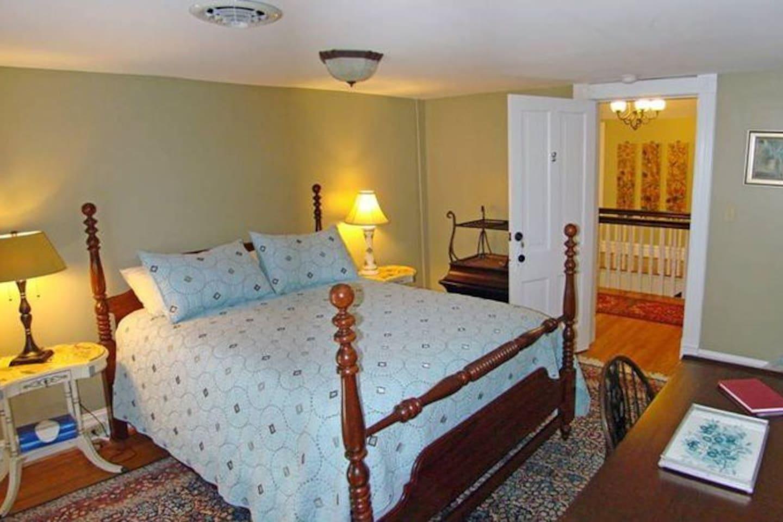 Room #2 ; Queen Bed; Upstairs; Middle of hallway