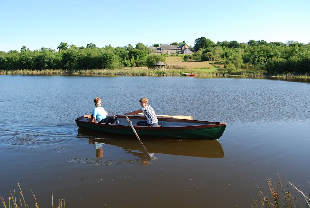 Guests are free to explore the whole 18 acres and mile of woodland paths, as well as take a relaxing row on the lake.