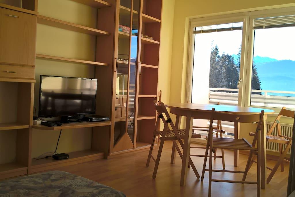 Geräumiges Wohnzimmer mit TV und DVD-Player