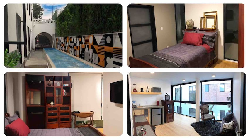 COYOACAN LOFT alberca,gym,rooftop,piano,bikes&more