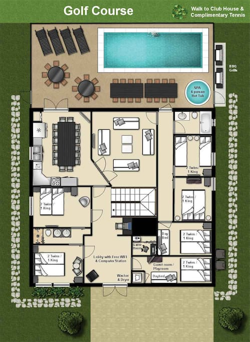 Floor plan 1st floor (each bedroom can be set up as a king or 2 twin, for king size we use a king size memory foam mattress topper)