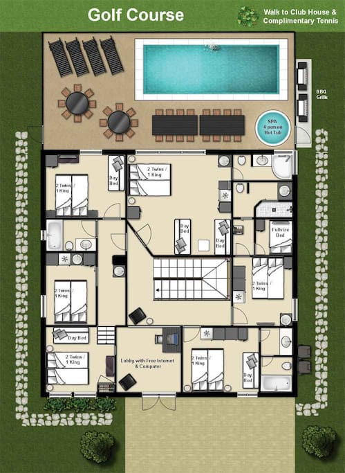 Floor plan 2nd floor (each bedroom can be set up as a king or 2 twin, for king size we use a king size memory foam mattress topper)