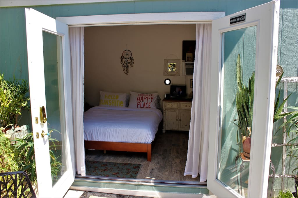 The Hen House has french doors that open into your own patio.