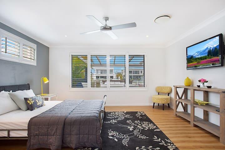 Very private Bedroom 1 with Queen Bed, TV, En-suite and Walk-in-Robe