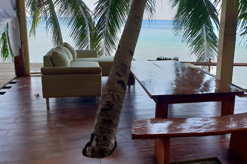 Palm trees are weaved in the living and dining space to be with nature.