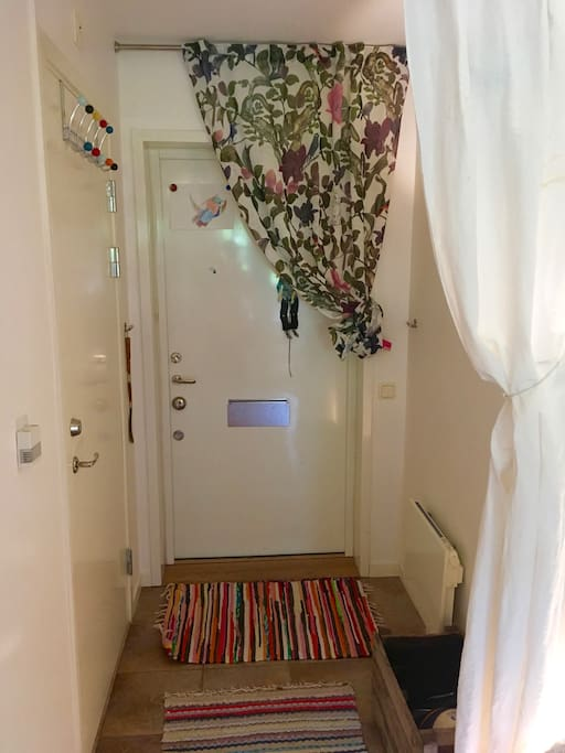 Your private entrance to the apartment starts with you entering your personal small hall, then wardrobe to your left for luggade and clothes and more, and strait a head your bed room with full privacy.