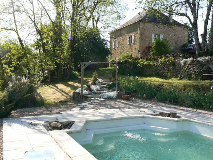 Charming stone farmhouse with pool, orchard, barn