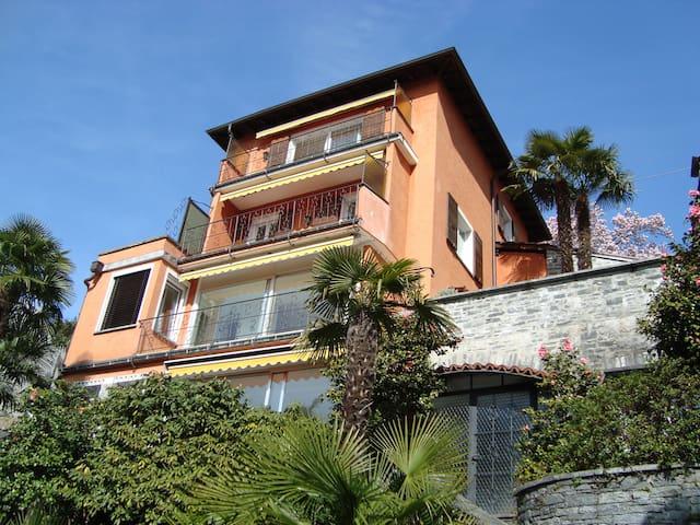 BnB in Tessinerhaus mit Seesicht + Palmengarten