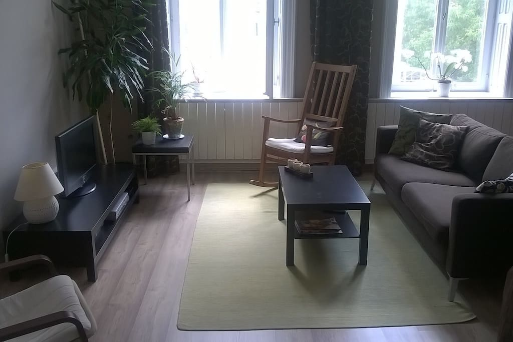 Main room with sofa and satellite tv