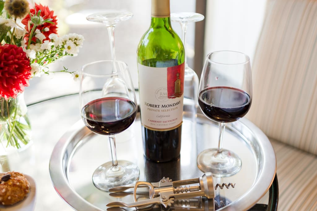 Wine tray, glasses and cork opener available