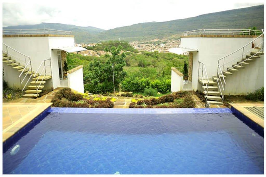 Hospedaje campestre con piscina caba as en alquiler en - Piscinas en santander ...