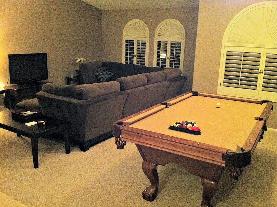 Pool Table Adjacent to TV Area