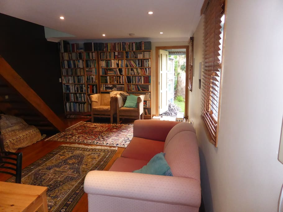 Lower living area with view to library & garden