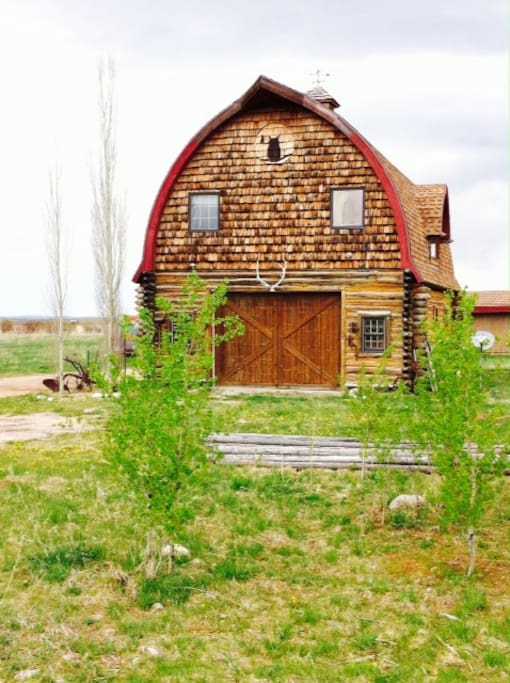 Gothic arch barn, apartment is in upper portion.