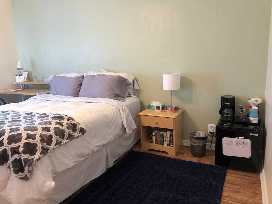 Room is equipped with mini fridge and coffee pot to brew our selection of local coffee. Nightstand will feature books from New Mexican authors or books relevant to the southwest.