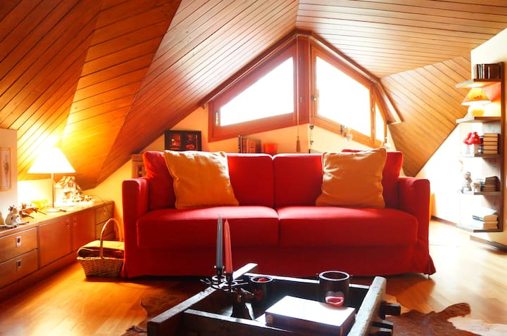 Giomein · Cozy attic of 120 mq, Wi-Fi and Parking