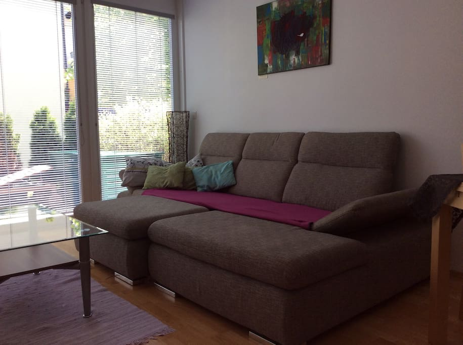 Sofa in Livingroom. Sleeping place for another two persons. Very nice.