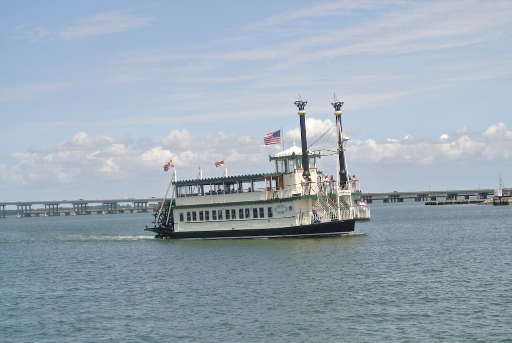 A riverboat cruising the Choptank River across from our house.
