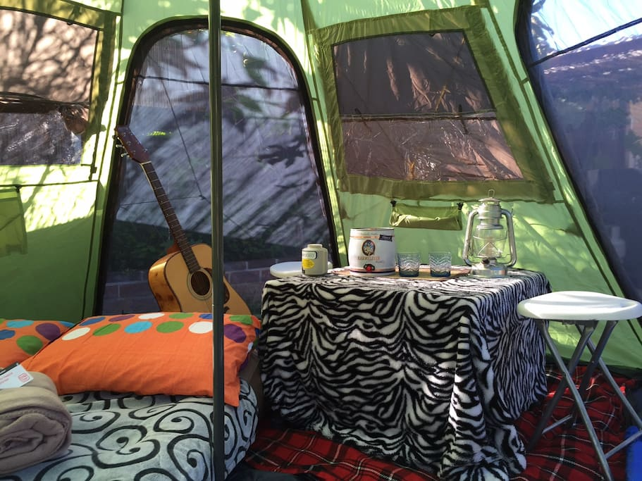 At 4x4mtrs, rain-proof, even insect-proof you will have spacious room for your stuffs and coffee table is supplied with pillows, blankets,led-lights, etc...that's a trademark for Glamor Camping!