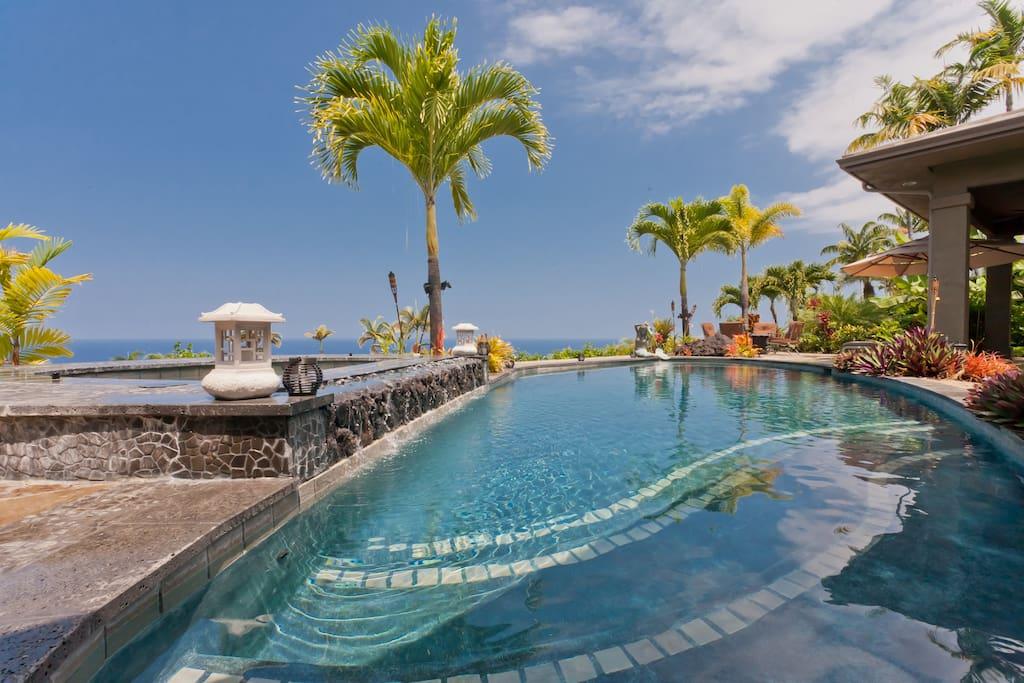 Pool, spa & ocean views