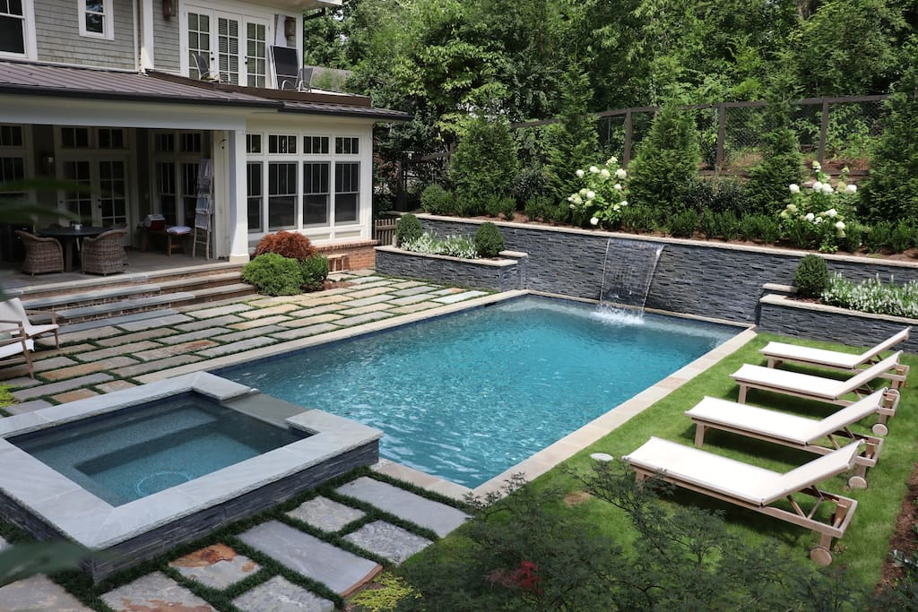 Pool & Hot Tub with open heated back porch