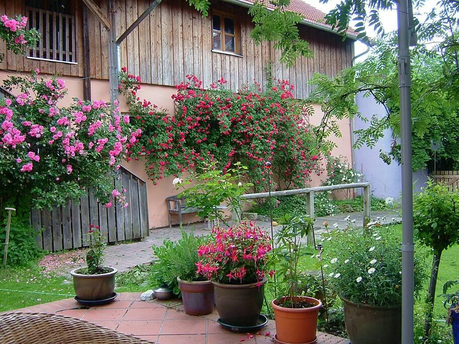 Blick zur Rosenstiege, Abgang zum Innenhof