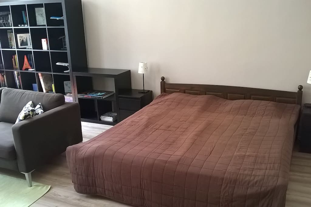 Main room with king double bed.