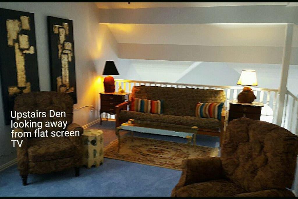 Upstairs den has queen sized bed - $60