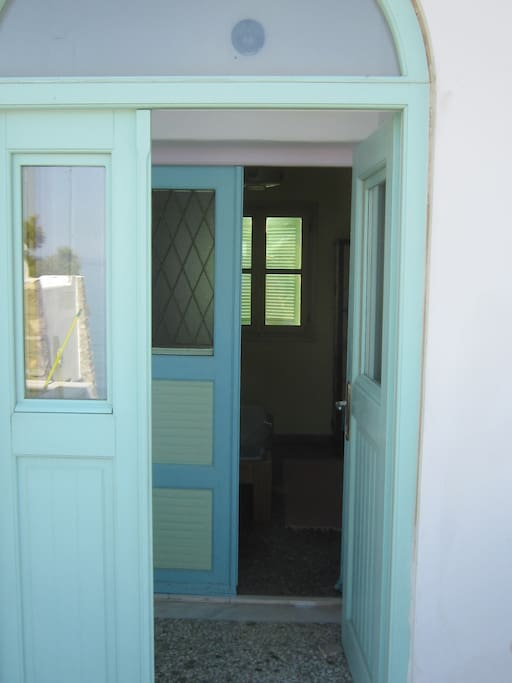 From the terrace ,the double door entrance ,  and the bedroom's double door