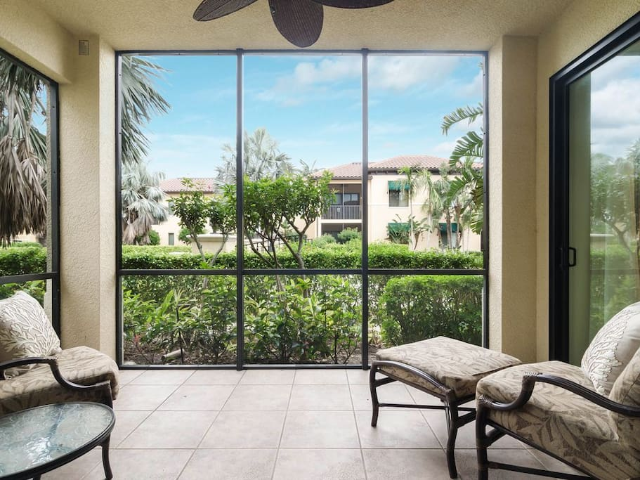Relaxing in the comfortable & tranquil setting of your own private screened lanai