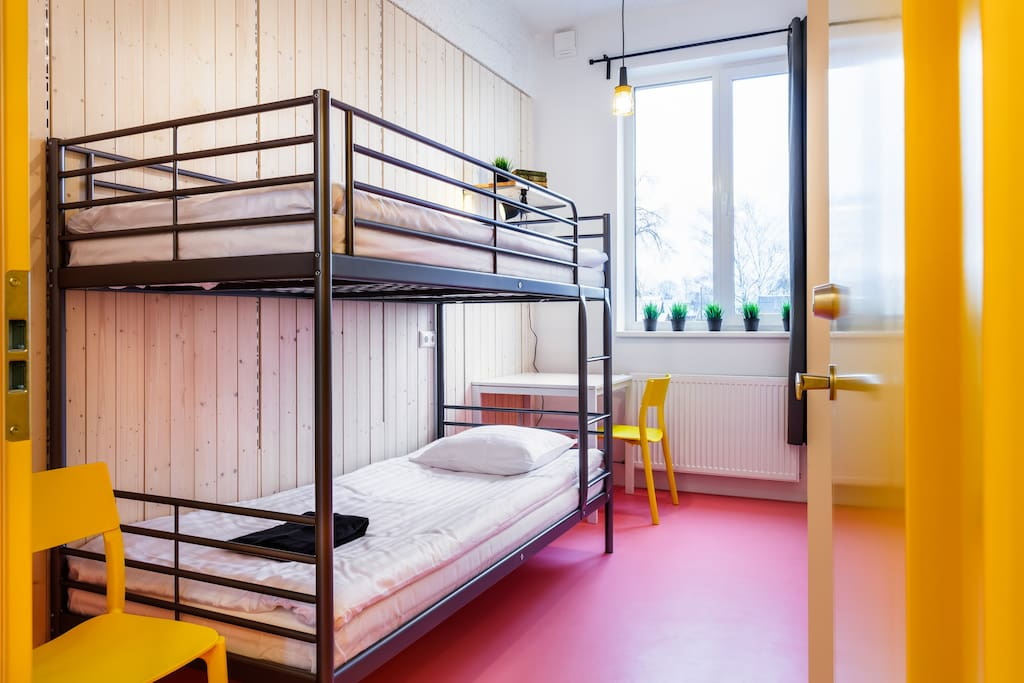 A convenient bedroom with 1 bunk bed in a 4 bedroom apartment