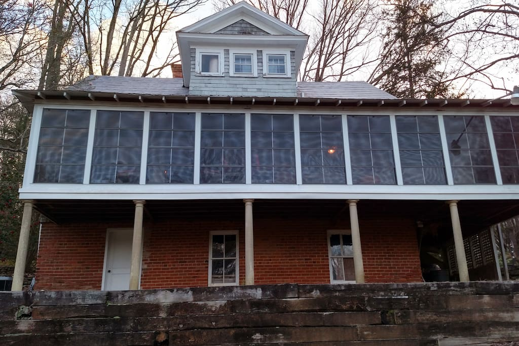 Rear porch overlooking 2-acres in Tryon