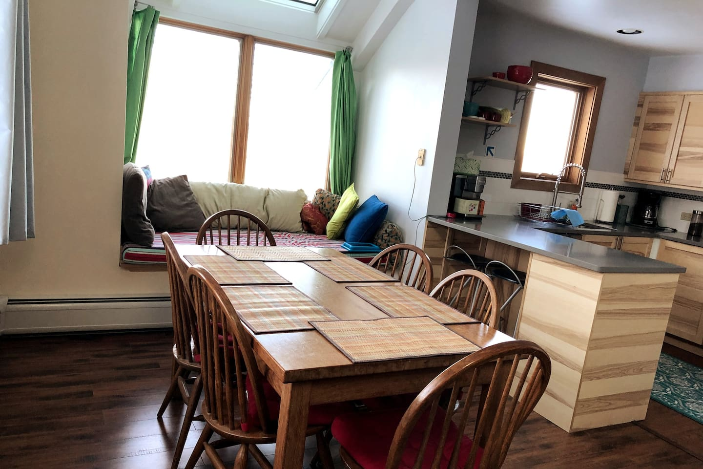 Dining area, kitchen and the window seat