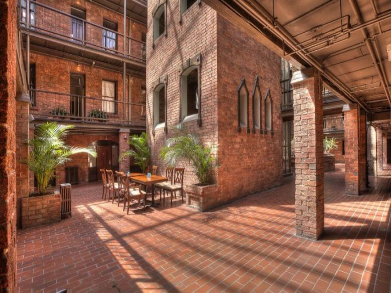 The courtyard level from just outside the door to The Snug.