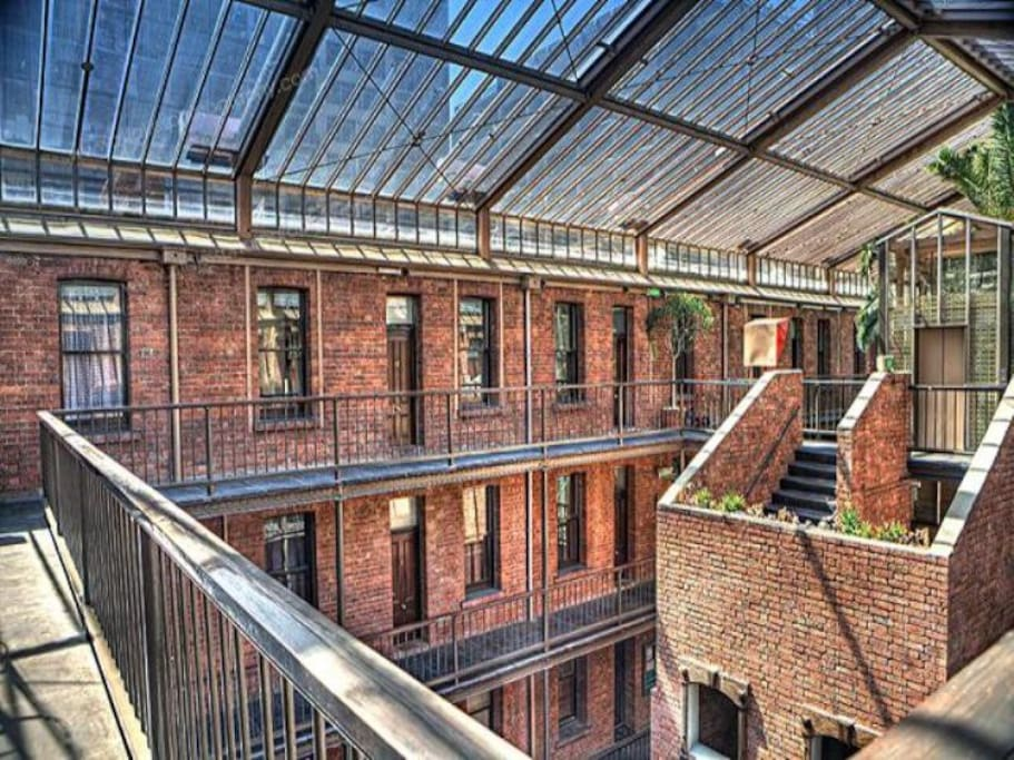 The view from the first floor, overlooking the courtyard