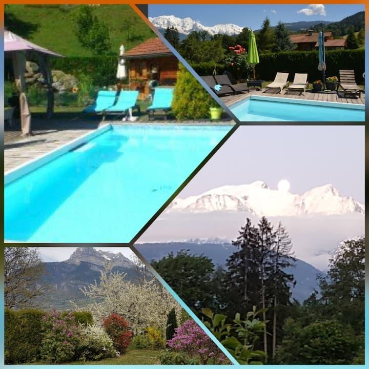 Studio avec  vue Mt Blanc et piscine