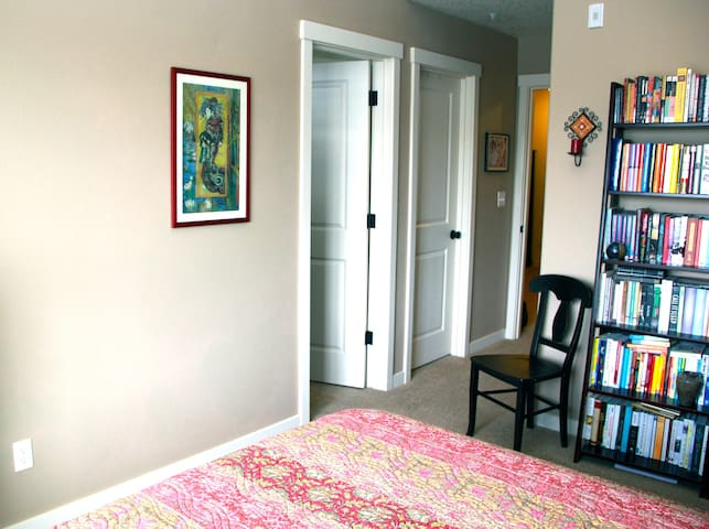 Bathroom conveniently located through door on the left. Partial closet space available.