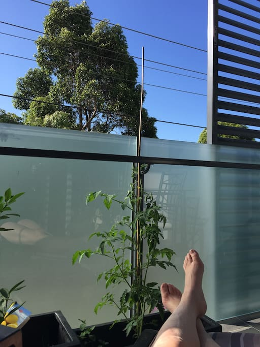 Relax on balcony. 1st floor.
