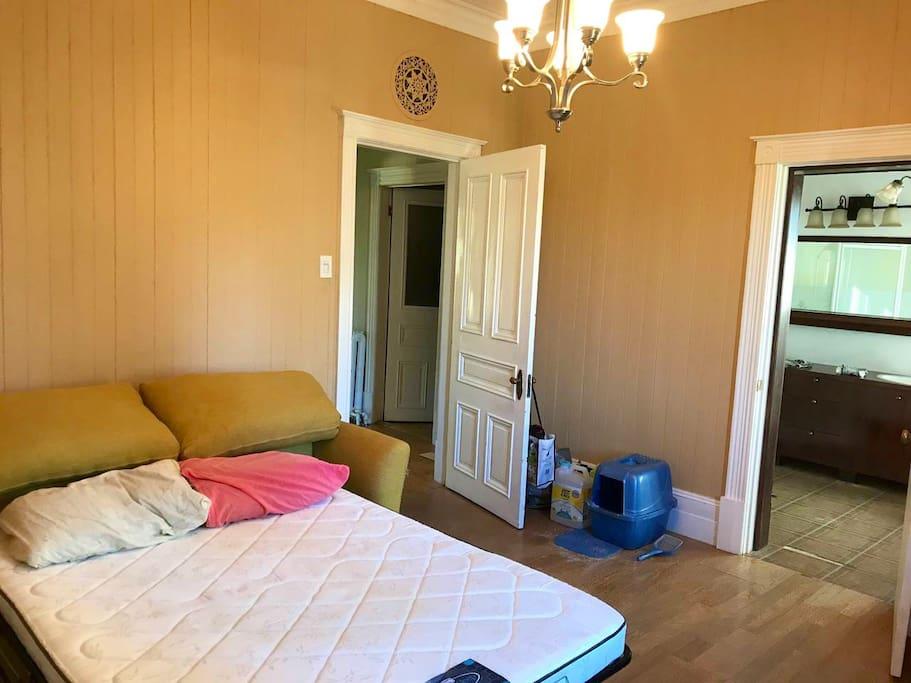 Chambre avec divan-lit et salle de bain privée.