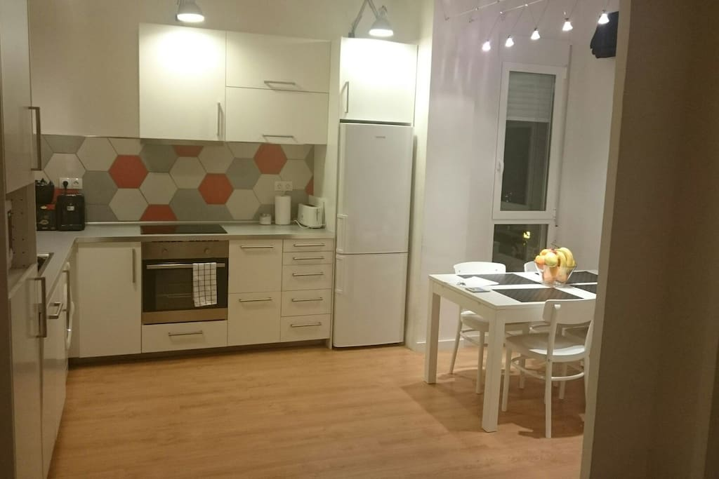 Kitchen with dining area.