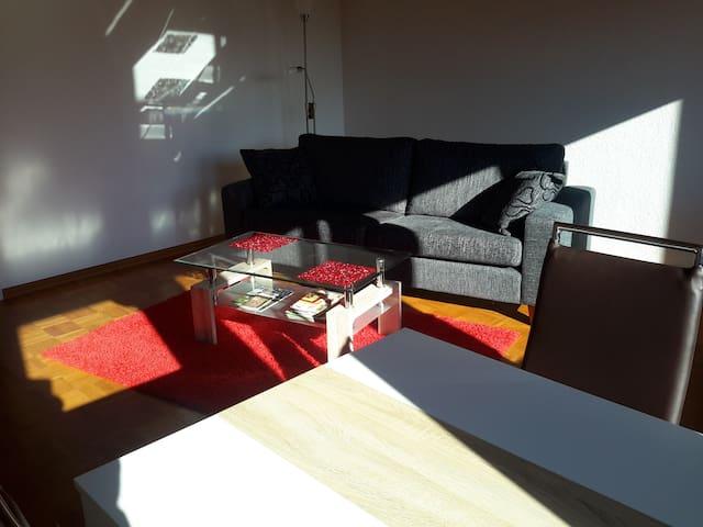 ruime woonkamer met eettafel