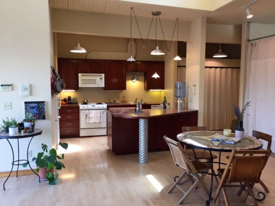 Open floor plan kitchen and dining area, below a large light scoop.