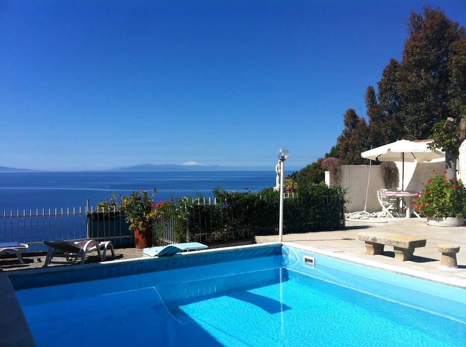 View from the poool with Snow covered Mount ETNA