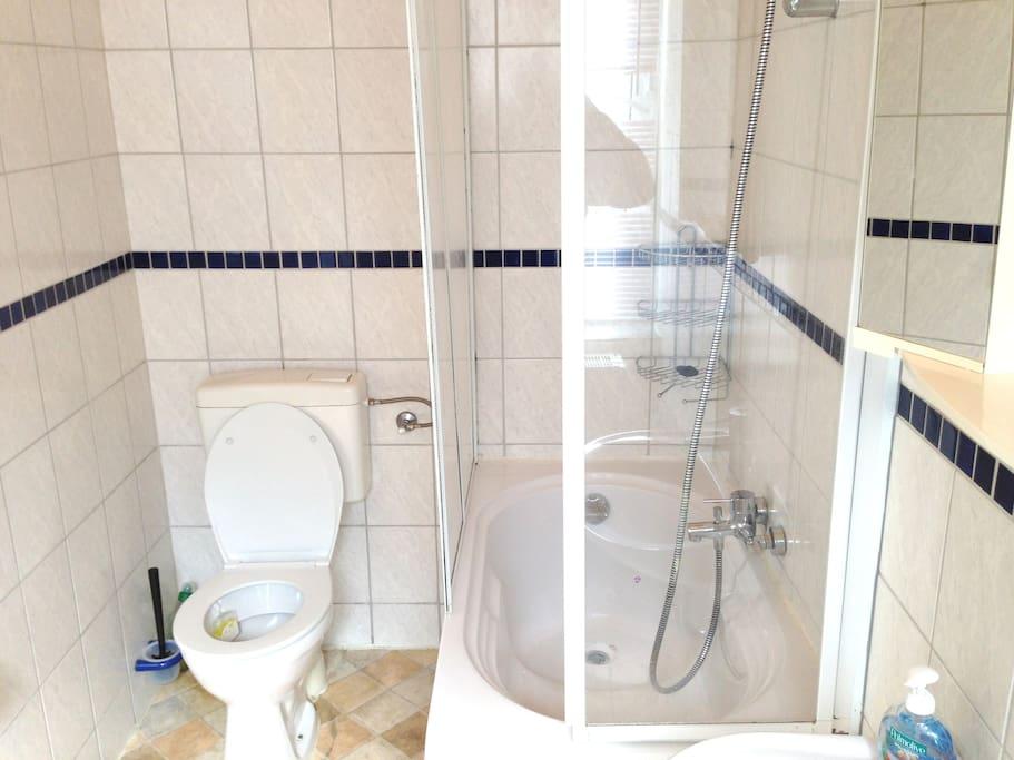 Sitzwanne mit Dusche und WC