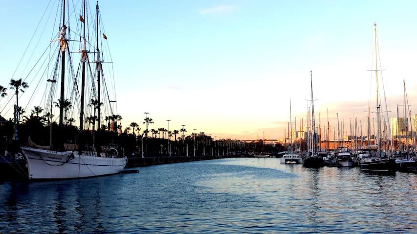 Stroll around our neighbourhood: The port at sunset (2 minute walk)