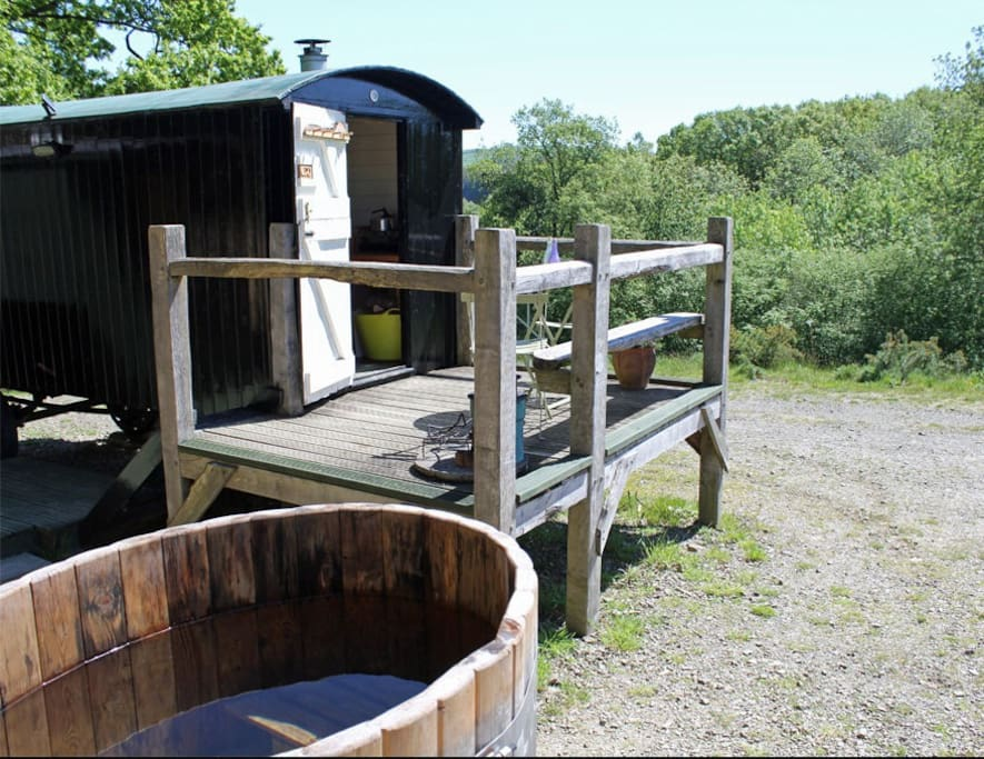 This hut comes with its own wood fired hot tub, just like the other three huts on the farm